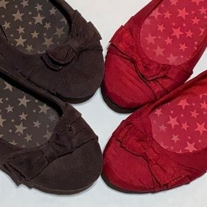 TWO Flats Bow Shoes Red and Brown Sz 10